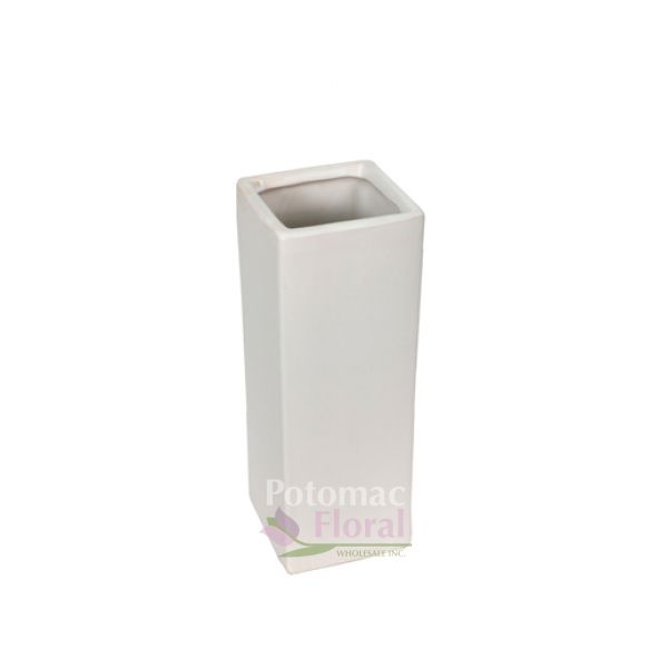 White Ceramic Square Vase 14 Tall X 4 X 4 Potomac Floral Wholesale
