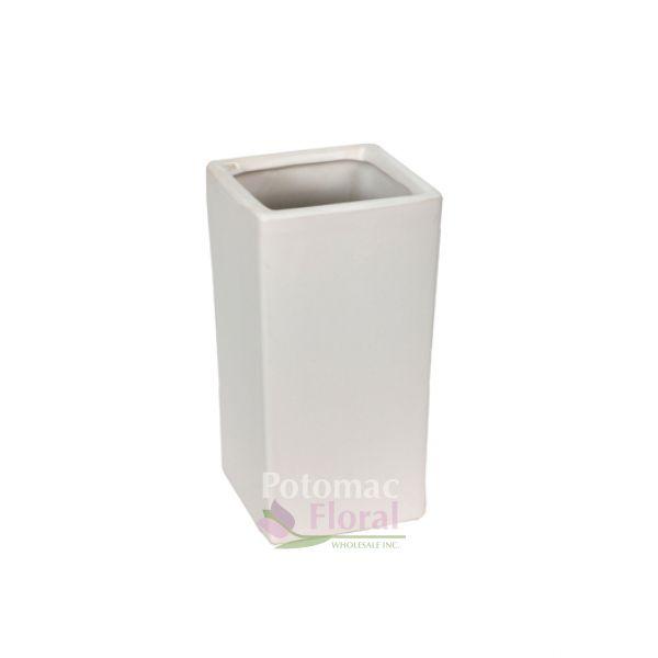 Matte White Ceramic Square Vase 10 Tall X 5 X 5 Potomac Floral