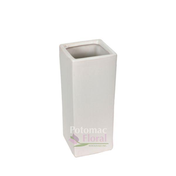 Matte White Ceramic Square Vase 14 Tall X 5 X 5 Potomac Floral