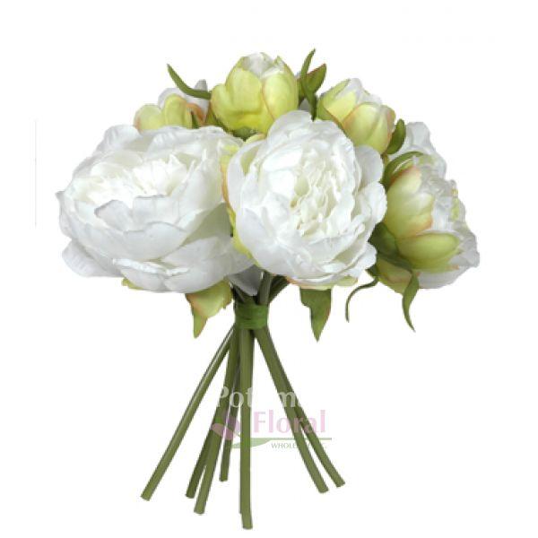 Silk peony bouquet x 8 creamy white sold each potomac floral silk peony bouquet x 8 creamy white sold each potomac floral wholesale mightylinksfo