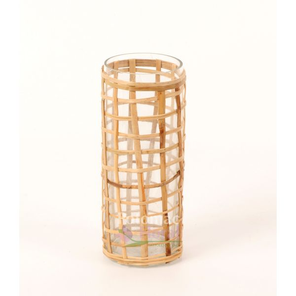 Glass And Bamboo Cylinder Vase 5quot Tall X 2 Potomac Floral