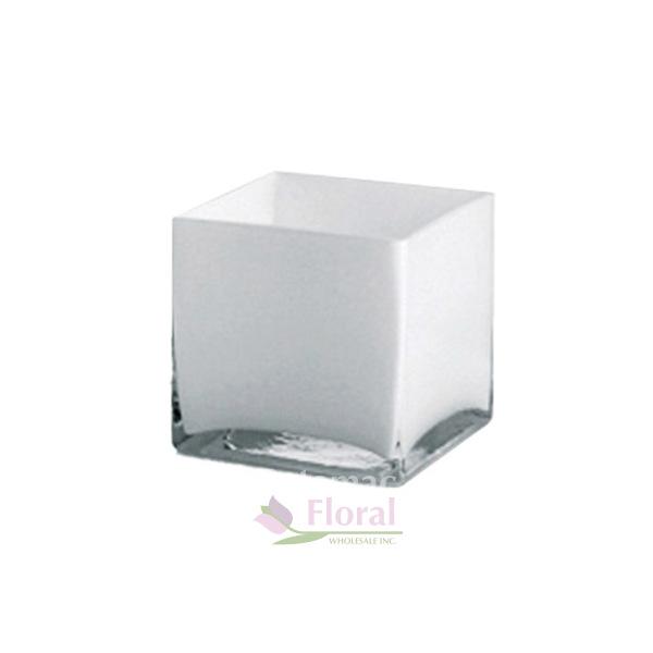 White Glass Square Cube 6 Tall X 6 X 6 Potomac Floral Wholesale