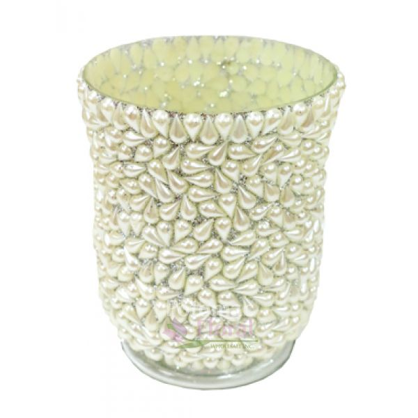 Pearled Hurricane Vase 6 Tall Potomac Floral Wholesale