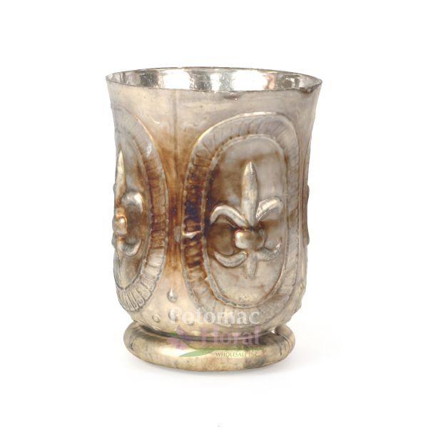 Burnt Platinum Glass Fluer Hurricane Vase 6 Potomac Floral Wholesale