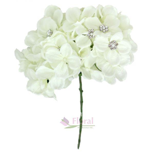 Silk 24 cream hydrangea with 8 gems potomac floral wholesale mightylinksfo