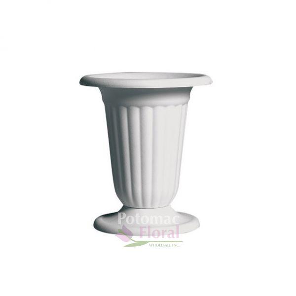 White Plastic 11 14 Pedestal Urn Potomac Floral Wholesale