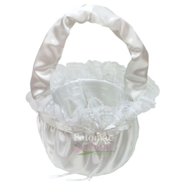 White satin flower girl basket potomac floral wholesale mightylinksfo